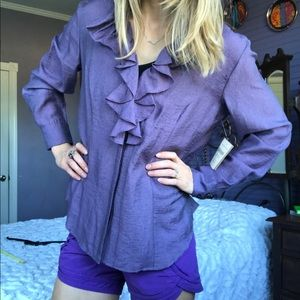 NWT Coldwater Creek Purple Ruffle blouse L 14-16
